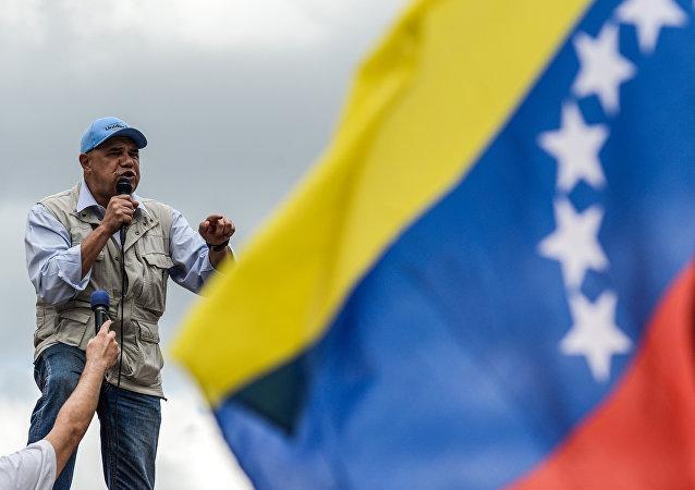 Líder opositor venezolano pronuncia un discurso
