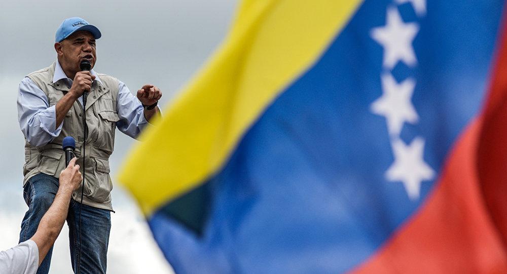 Líder opositor venezolano en un mitín