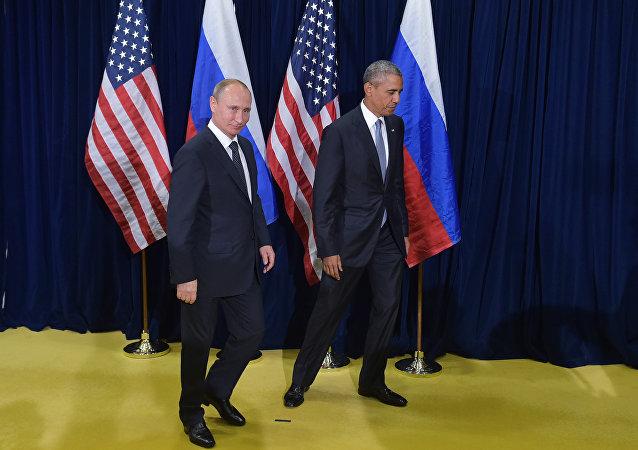 El Presidente ruso Vladimir Putin y el presidente de EEUU Barack Obama