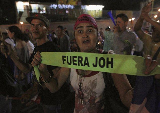 Manifestación con la demanda de la renuncia del presidente de Honduras