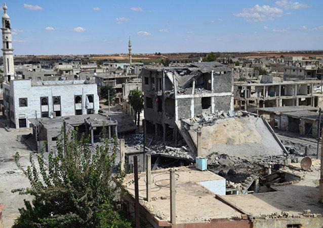 La ciudad de Talbisseh en la provincia de Homs derruida por los bombardeos contra el Estado Islámico