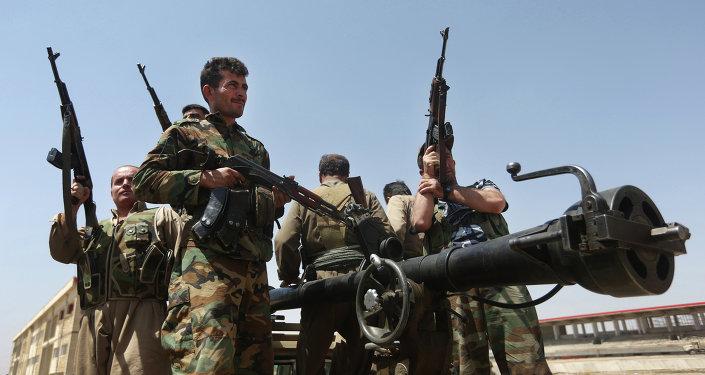 Combatientes kurdos en la provincia de Kirkuk, Irak