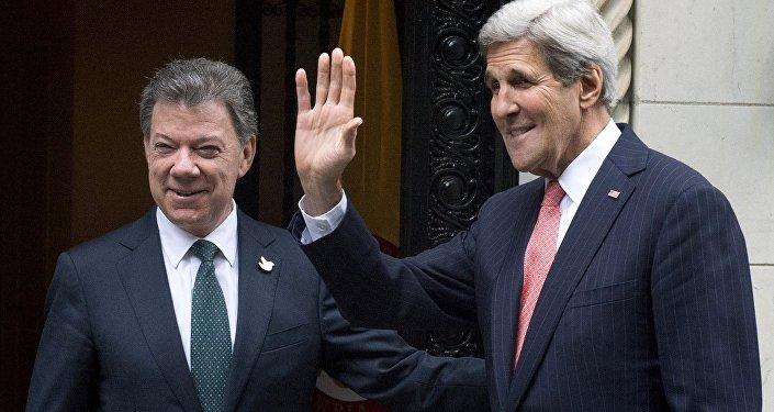 Presidente de Colombia Juan Manuel Santos y Secretario de Estado de EEUU John Kerry