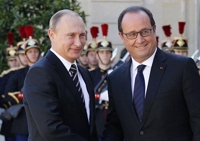 Presidente de Rusia, Vladímir Putin y presidente de Francia, Francois Hollande