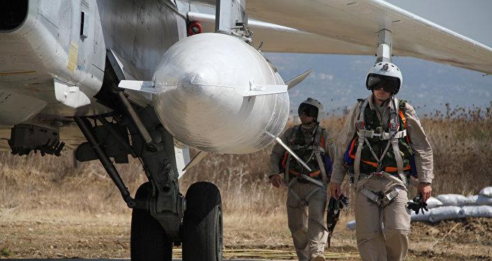 Pilotos rusos en la base áerea de Hmeimim en Siria