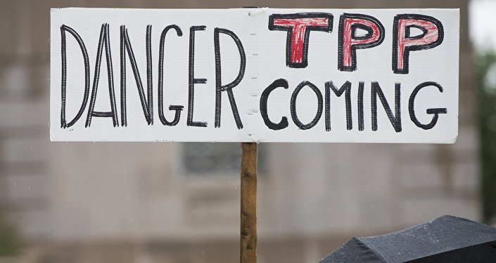 Manifestantes protestan contra el TPP (archivo)