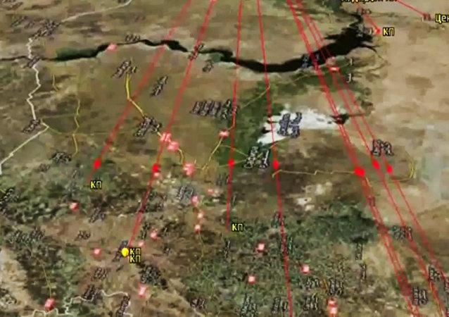 Lanzamiento de misiles de crucero contra las instalaciones del EI por la flotilla del Caspio (esquema)