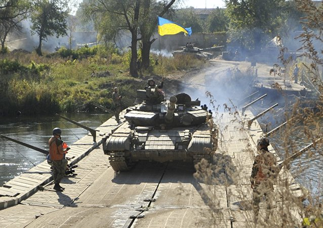 Un vehículo blindado ucraniano