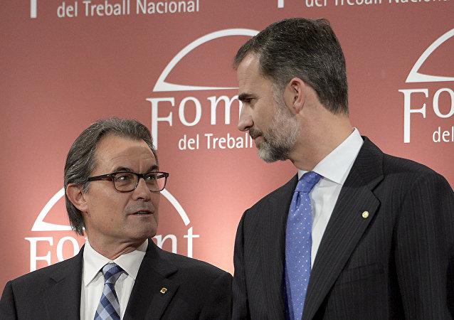 Presidente de Cataluña, Artus Mas, y rey Felipe VI (archivo)