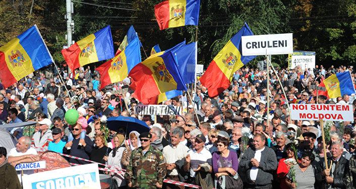 Manifestación antigubernamental en Chisinau