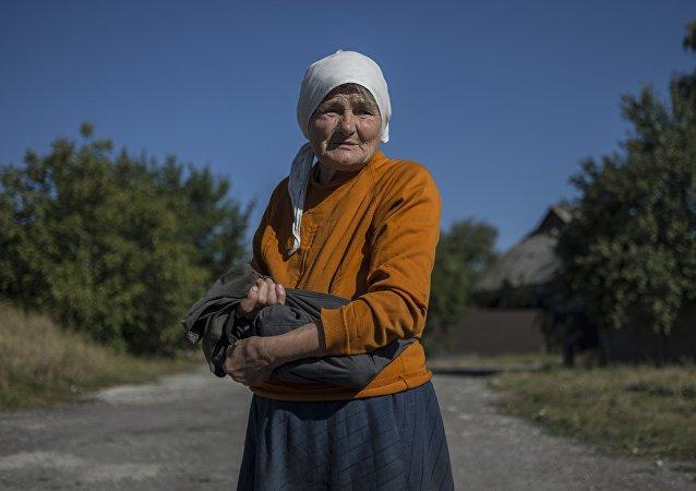 Una habitante de la región de Donetsk