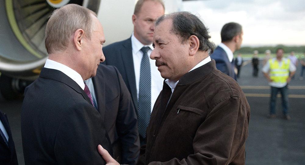 Vladímir Putin, presidente ruso, con su homólogo nicaragüense, Daniel Ortega (archivo)
