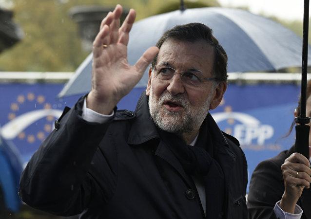 Mariano Rajoy, el primer ministro de España llega a la reunión del Congreso del Partido Popular Europeo