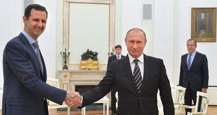 El presidente de Siria. Bashar al Asad y el presidente de Rusia, Vladímir Putin