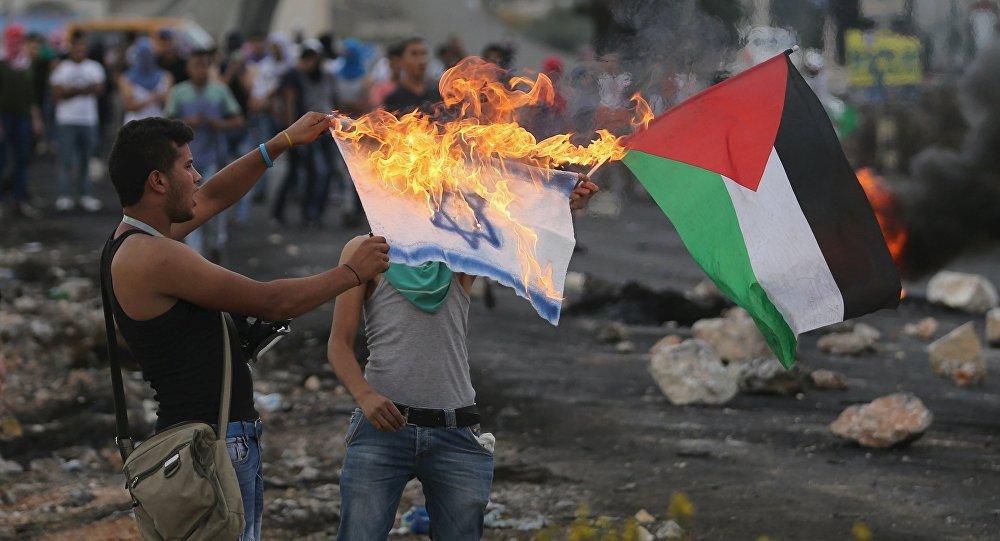 Manifestantes palestinos queman una bandera israelí