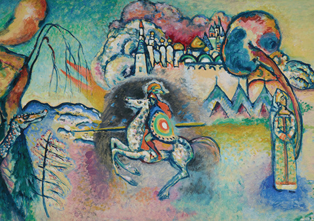 Vasili Kandinski (1866-1944). Jinete. San Jorge [estudio], ca. 1914