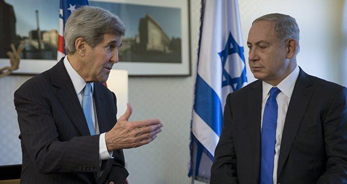 Secretario de Estado de EEUU, John Kerry y primer ministro de Israel, Benjamín Netanyahu