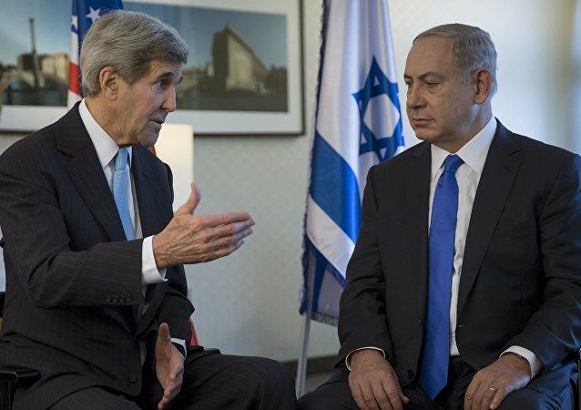 Ex secretario de Estado de EEUU, John Kerry y primer ministro de Israel, Benjamín Netanyahu