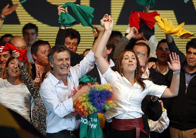 Candidato presidencial en Argentina, Mauricio Macri y candidata a gobernar la provincia de Buenos Aires, María Eugenia Vidal