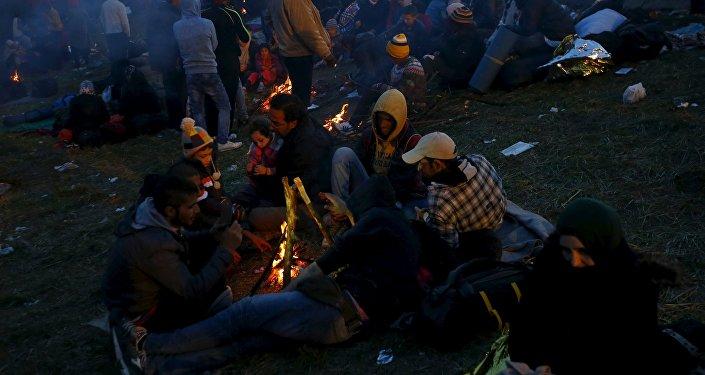Refugiados en la frontera austríaco-eslovena