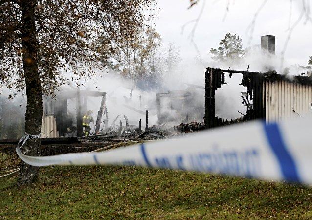 Consecuencias del incendio en un campo de refugiados en Suecia