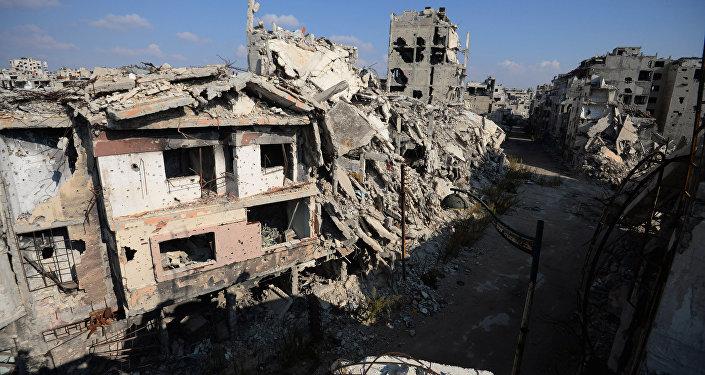Edificios destruidos en Homs, Siria