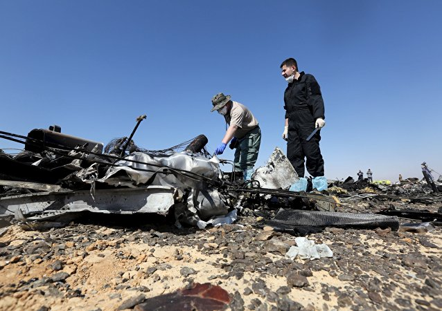 Investigadores rusos examinan los restos del avión ruso Airbus-321 siniestrado en Egipto