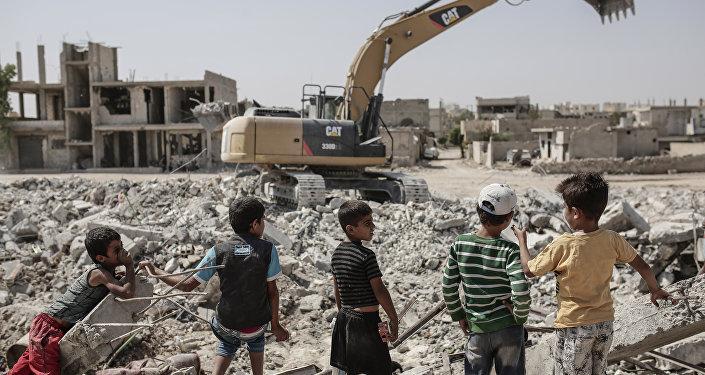 Niños en Kobani, Siria