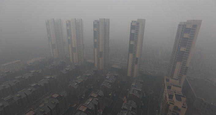 Aire contaminada en la ciudad de Shenyang, provincia de Liaoning, China