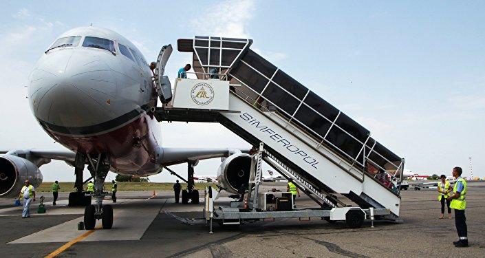 Pasajeros en el aeropuerto de Simferópol