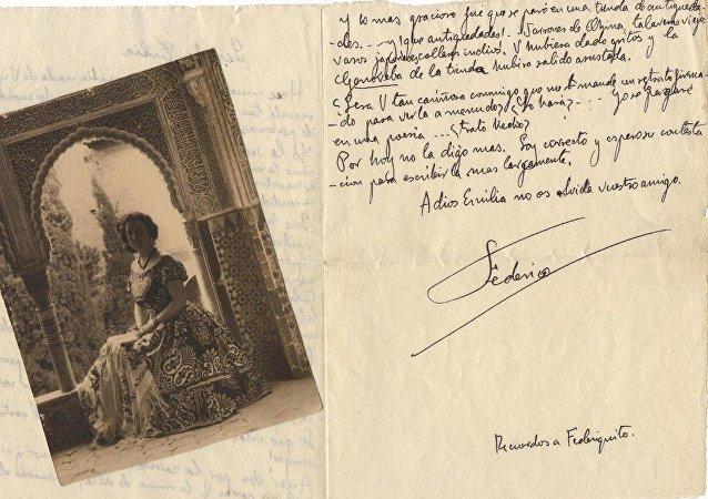 Una carta de García Lorca a Emilia Llanos Medina