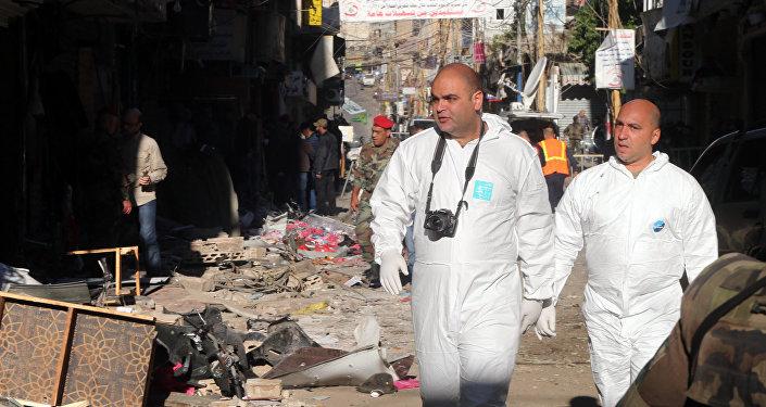 El lugar del atentado en Beirut
