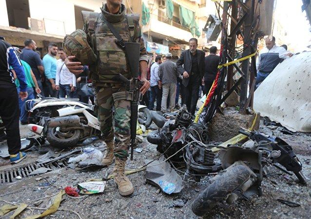 Lugar del atentado en Beirut