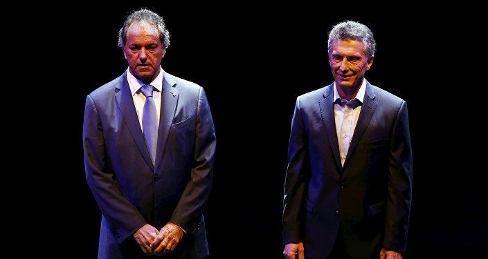 Candidatos presidenciales Daniel Scioli y Mauricio Macri