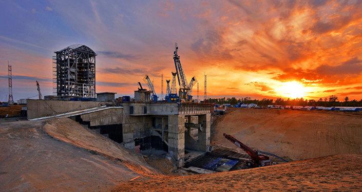 Сonstrucción del cosmódromo Vostochni en la región de Amur