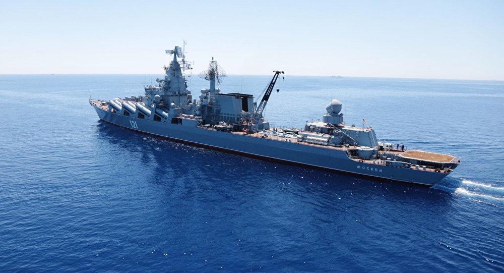 Crucero portamisiles Moskvá durante los ejercicios en el Mediterráneo (Archivo)