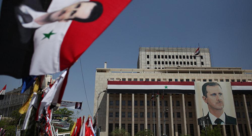 Manifestación a favor del presidente sirio Bashar Asad