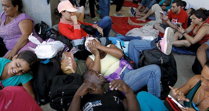 Migrantes cubanos en la frontera entre Costa Rica y Nicaragua