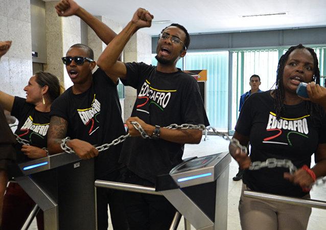 Estudiantes del movimiento Educafro en Brasil