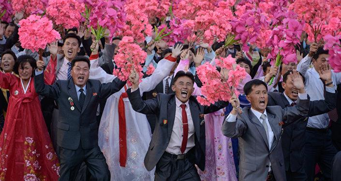 Norcoreanos festejan el 70 aniversario del Partido de los Trabajadores. 10 de octubre de 2015