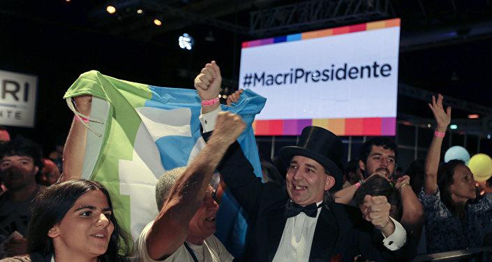 Partidarios del candidato opositor a la Presidencia argentina, Mauricio Macri