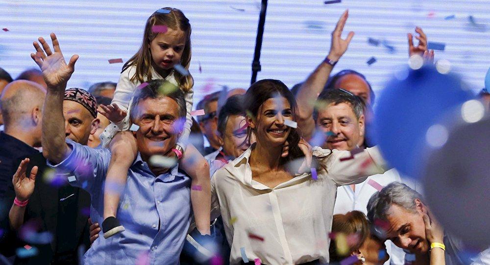 Mauricio Macri con sus seguidores tras vencer en las elecciones presidenciales de Argentina