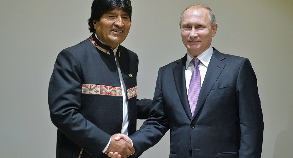Presidente de Bolivia, Evo Morales, y presidente de Rusia, Vladímir Putin