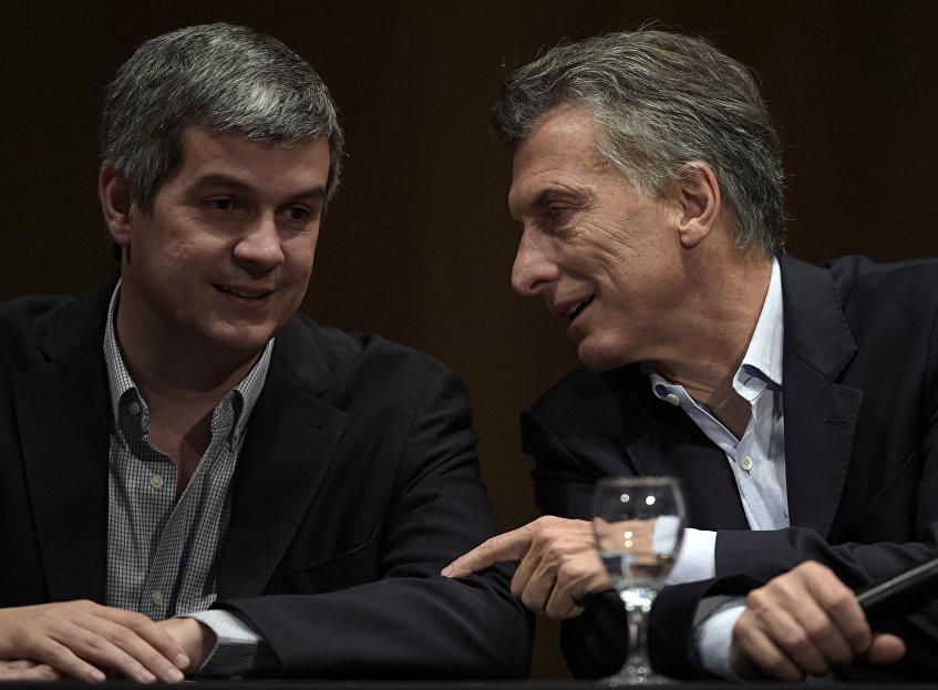 Presidente electo de Argentina, Mauricio Macry y jefe de campaña electoral, Marcos Peña