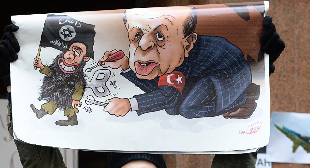 Un cartel con caricatura de Erdogan