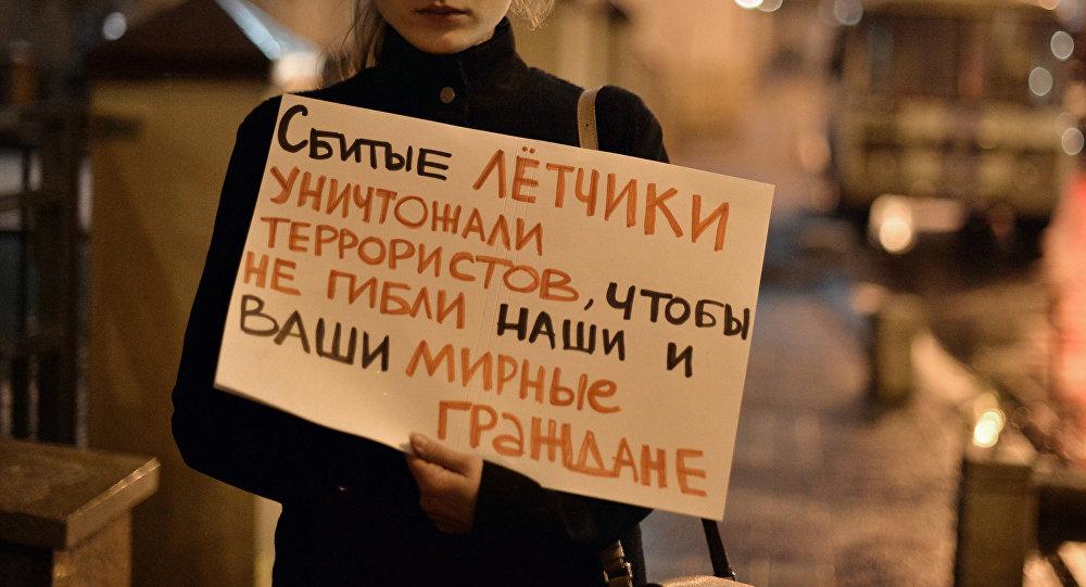 Protesta en Moscú tras el derribo del Su-24