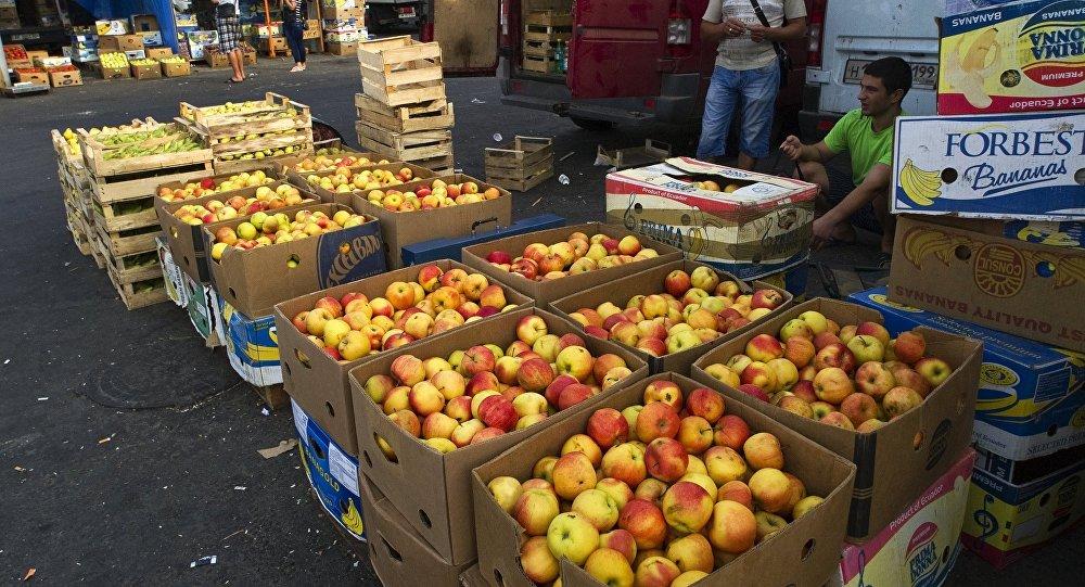 Las manzanas en un mercado en Crimea