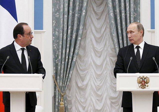 Presidente de Francia, François Hollande y presidente de Rusia, Vladímir Putin