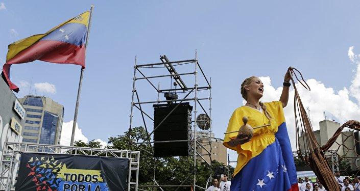 Mitin de la oposición en Caracas, Venezuela