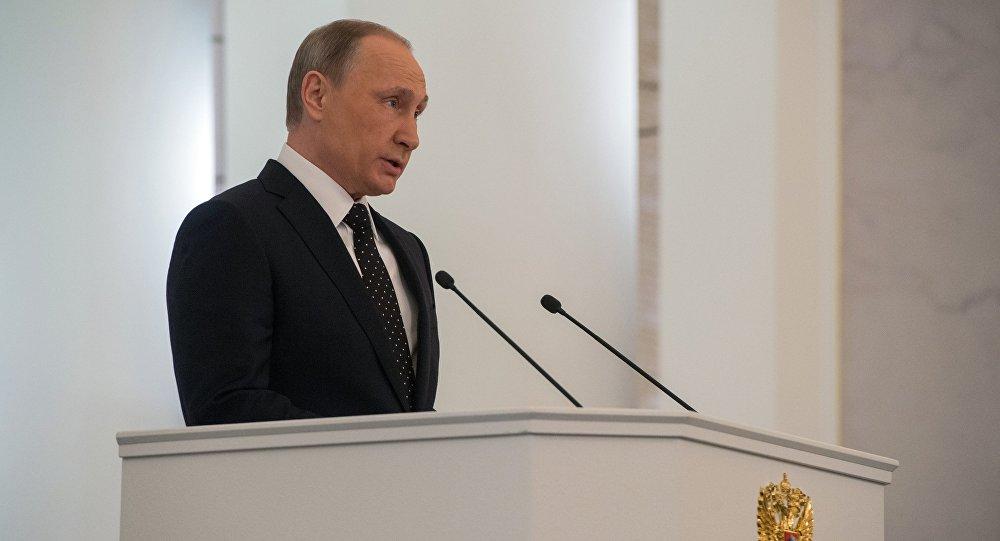Vladímir Putin durante el mensaje anual a la Asamblea Federal